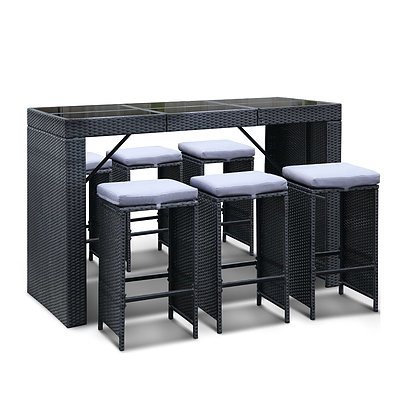 7 Piece Outdoor Bar Table and Stools Set 4 Chairs - Black - Free Shipping