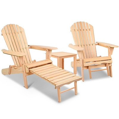 3 Piece Outdoor Wooden Lounge Chair and Table Set - Free Shipping