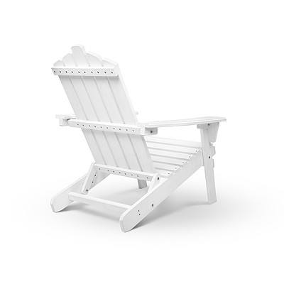 2 Piece Outdoor Wooden Lounge Chair and Table Set - White - Free Shipping