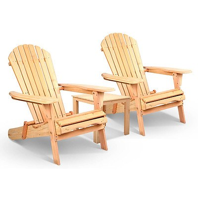 3 Piece Wooden Outdoor Lounge Beach Chair and Table Set - Free Shipping