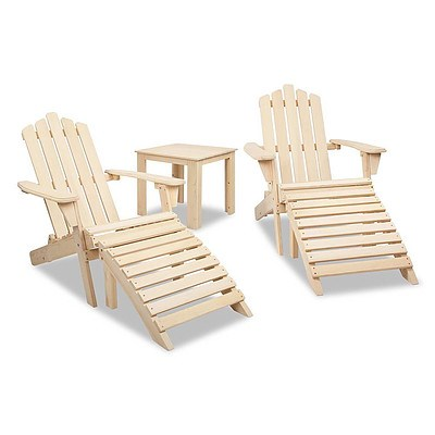Adirondack Chairs & Side Table 5 Piece Set - Natural - Brand New - Free Shipping