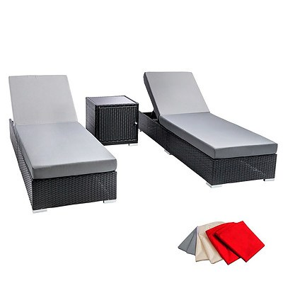 3 pcs Black Wicker Rattan 2 Seater Outdoor Lounge Set Grey - Brand New - Free Shipping