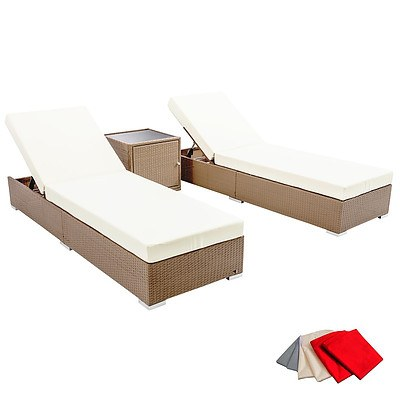 3 Piece Wicker Outdoor Furniture Sun Lounge Set - Brown - Free Shipping