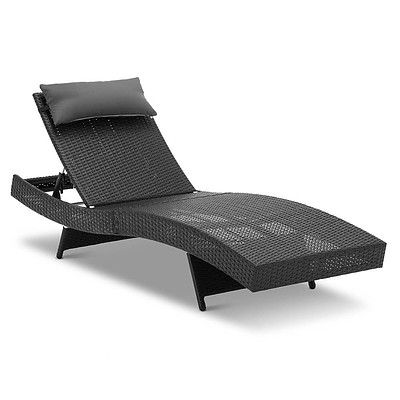 Wicker Outdoor Sun Lounger - Black - Brand New - Free Shipping