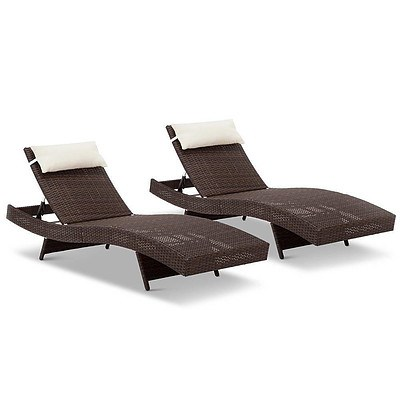 2 Piece Outfoor Wicker Sun Lounge Day Bed - Free Shipping