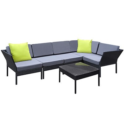 Stackable 6 pcs Black Wicker Rattan 5 Seater Outdoor Lounge Set Grey - Brand New - Free Shipping