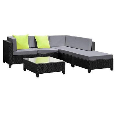 6 pcs Black Wicker Rattan 5 Seater Outdoor Lounge Set Grey - Brand New - Free Shipping
