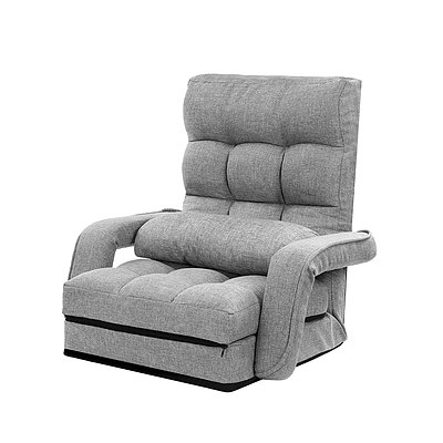 Lounge Sofa Armchair Floor Recliner Chaise Linen Light Grey - Brand New - Free Shipping