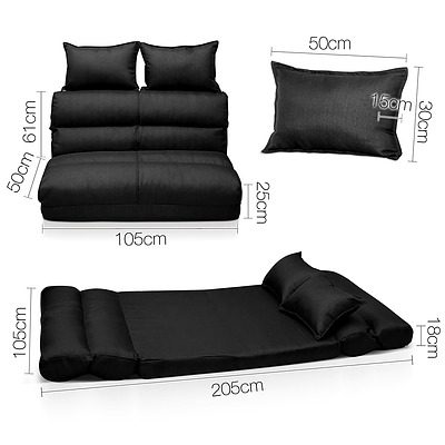 Double Size Adjustable Lounge Sofa - 5 positions Black - Free Shipping