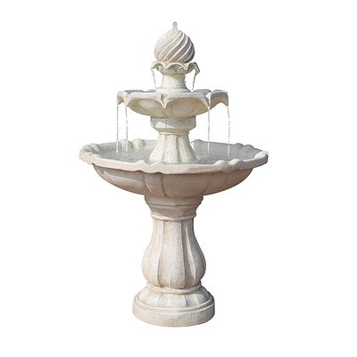 Solar Power Three-Tier Water Fountain Ivory - Free Shipping
