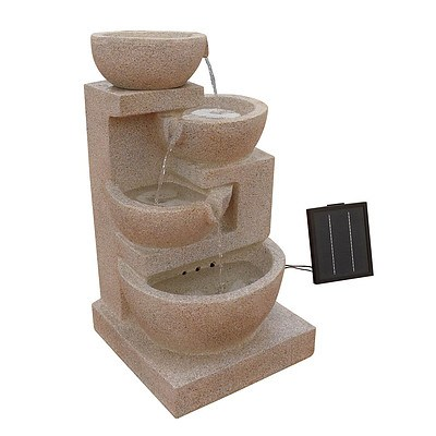 4 Tier Solar Powered Water Fountain with Light - Sand Beige - Brand New - Free Shipping