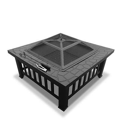 Grillz Outdoor Fire Pit BBQ Table Grill Fireplace Stone Pattern - Brand New - Free Shipping