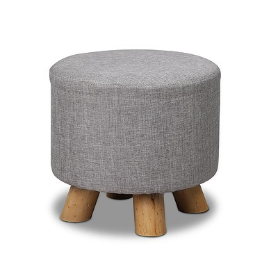 Linen Round Ottoman - Grey - Free Shipping