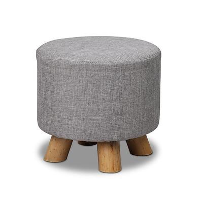 Linen Round Ottoman - Grey - Free Shipping
