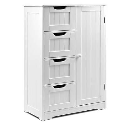 Bathroom Tallboy Storage Cabinet - White - Free Shipping