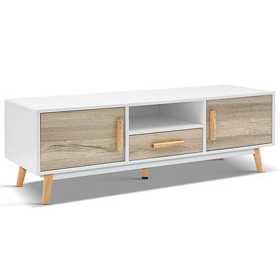 120cm Wooden Entertainment Unit - White & Wood - Free Shipping
