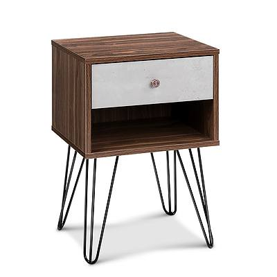 Bedside Table with Drawer - White & Walnut - Free Shipping