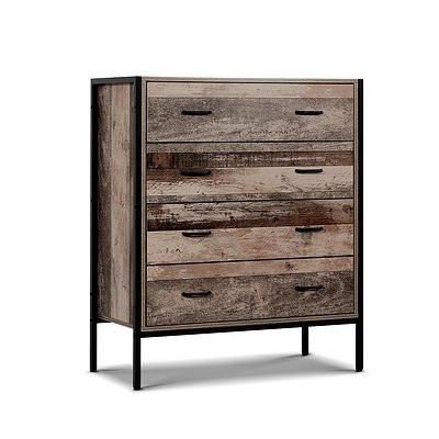 Chest of Drawers Tallboy Dresser Storage Cabinet Industrial Rustic - Brand New - Free Shipping