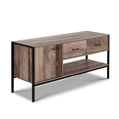 TV Stand Entertainment Unit Storage Cabinet Industrial Rustic Wooden 120cm - Brand New - Free Shipping