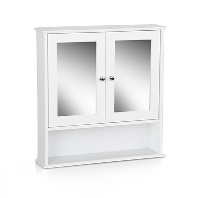 Bathroom Tallboy Storage Cabinet with Mirror - White - Free Shipping
