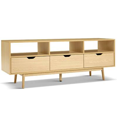 Wooden Scandinavian Entertainment Unit - Natural - Free Shipping