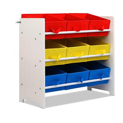 9 Bin Kids Wooden Storage Cabinet Bookshelf