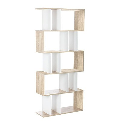 5 Tier Display/Book/Storage Shelf Unit - White Brown - Free Shipping