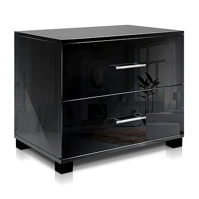 High Gloss Two Drawers Bedside Table Black - Brand New - Free Shipping