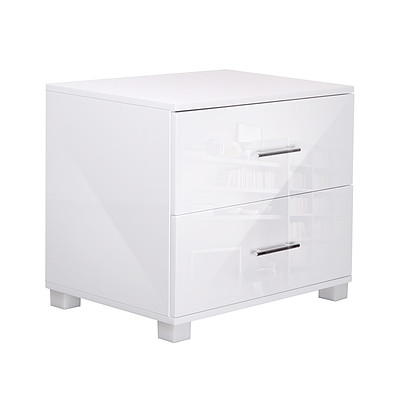 High Gloss Two Drawers Bedside Table White - Free Shipping