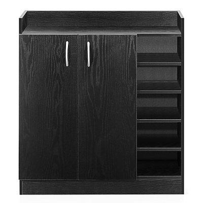 2 Doors Shoe Cabinet Storage Cupboard - Black - Free Shipping