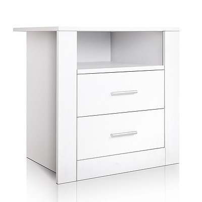 Anti-Scratch Bedside Table 2 Drawers - White - Free Shipping