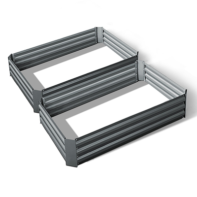 Set of 2 120 x 90cm Raised Garden Bed - Aluminium Grey