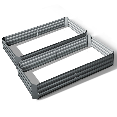 Set of 2 210cm x 90cm Raised Garden Bed - Aluminium Grey - Brand New - Free Shipping