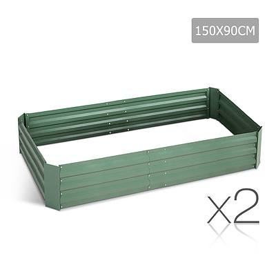 Set of 2 Galvanised Steel Garden Bed - Green - Brand New - Free Shipping