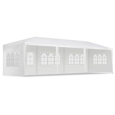 Gazebo 3x9m Outdoor Marquee side Wall Gazebos Tent Canopy Camping White 5 Panel - Brand New - Free Shipping
