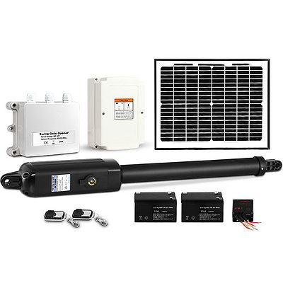 LockMaster Automatic Full Solar Power Swing Gate Opener Kit 600KG - Free Shipping