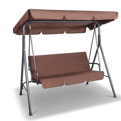 3 Seater Outdoor Canopy Swing Chair - Coffee - Free Shipping