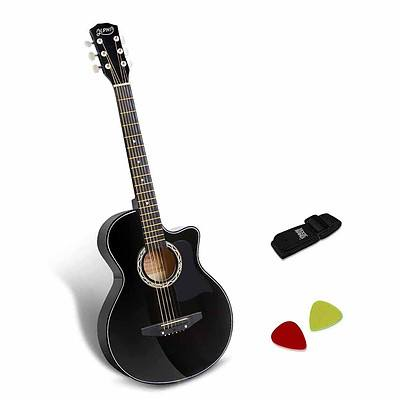 38 Inch Wooden Acoustic Guitar Black - Brand New - Free Shipping