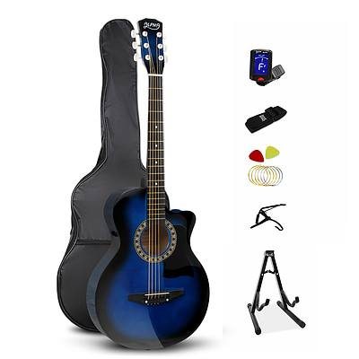 38 Inch Wooden Acoustic Guitar Set - Blue - Free Shipping