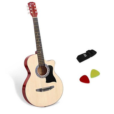 38 Inch Wooden Acoustic Guitar Natural - Brand New - Free Shipping