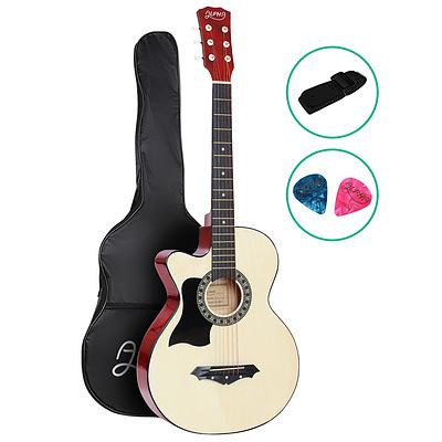 38 Inch Wooden Acoustic Guitar Left handed - Natural Wood - Brand New - Free Shipping