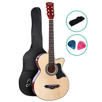 38 Inch Wooden Acoustic Guitar Natural Wood - Brand New - Free Shipping