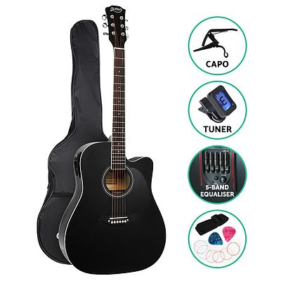 41 Inch Electric Acoustic Guitar Wooden Classical Full Size EQ Capo Black