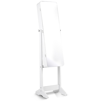 Jewellery Cabinet with Mirrow and LED Light - White - Free Shipping