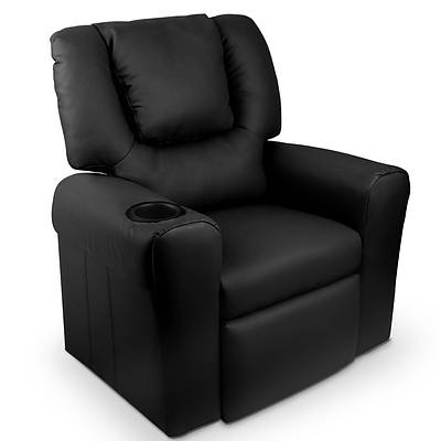 Kids Padded PU Leather Recliner Chair  - Black - Free Shipping