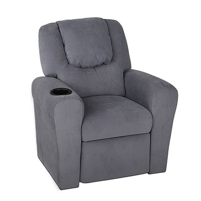 Kid's Linen Fabric Reclining Arm Chair - Grey - Free Shipping