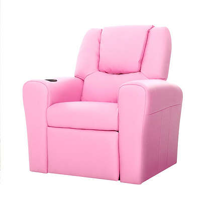 Kids Padded PU Leather Recliner Chair  - Pink - Free Shipping