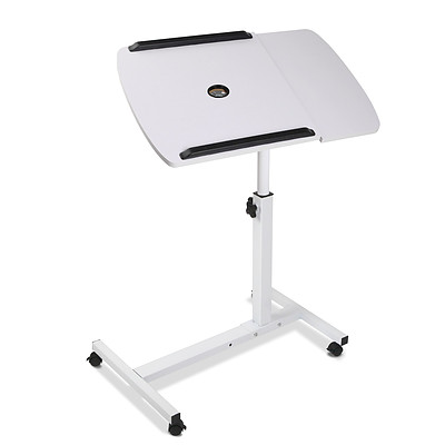 Rotating Mobile Laptop Adjustable Desk with USB Cooler White - Free Shipping