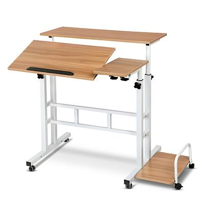 Mobile Twin Laptop Desk - Light Wood - Free Shipping