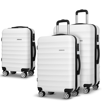 3 Piece Lightweight Hard Suit Case Luggage White